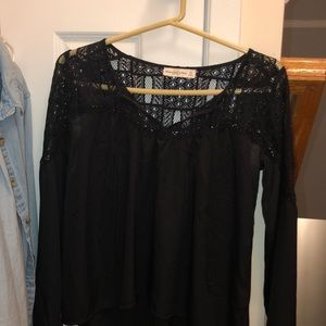 black lace long sleeve shirt from abercrombie